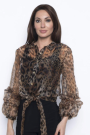 Frank Lyman Button up sheer long sleeve caramel/black leopard animal printed blouse - Product Mini Image