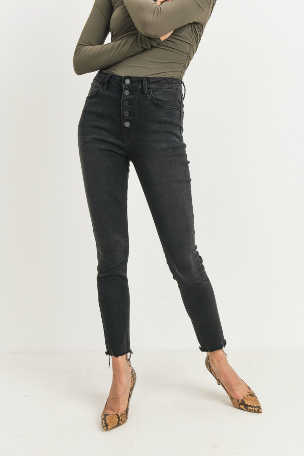 just black Button Up Skinny - Main Image