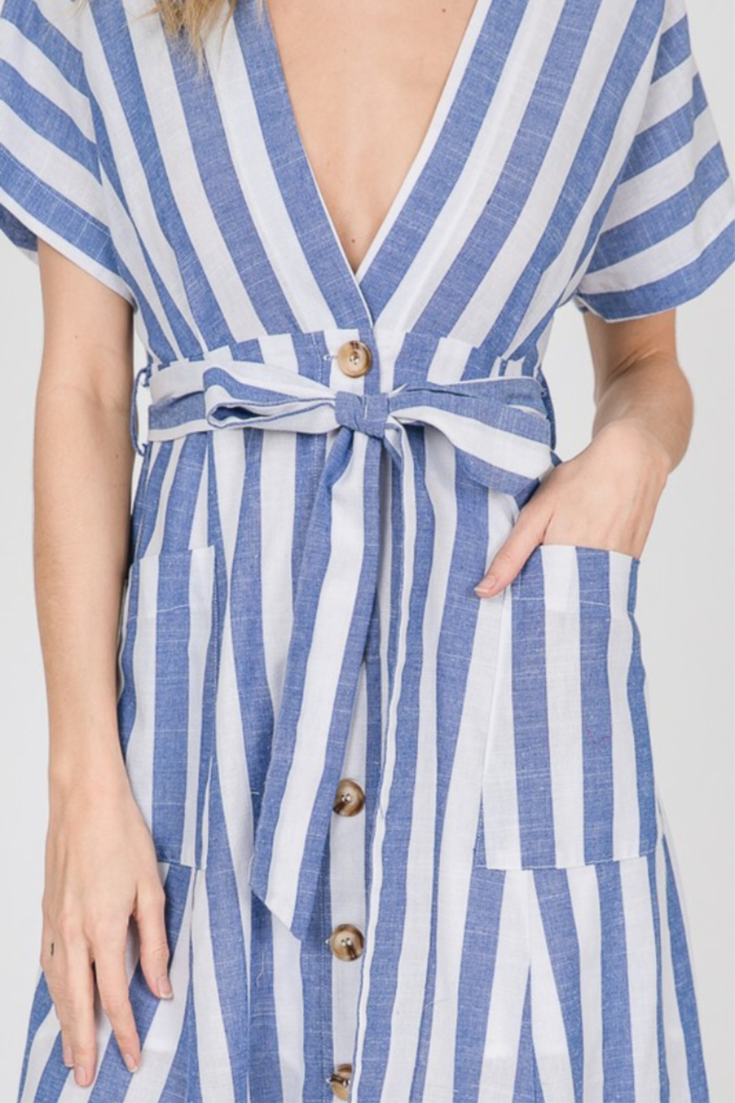 Lyn -Maree's Button Up Stripe Maxi - Front Full Image