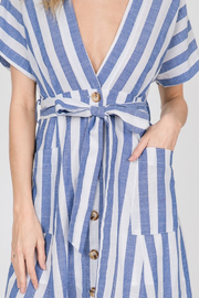 Lyn -Maree's Button Up Stripe Maxi - Front full body