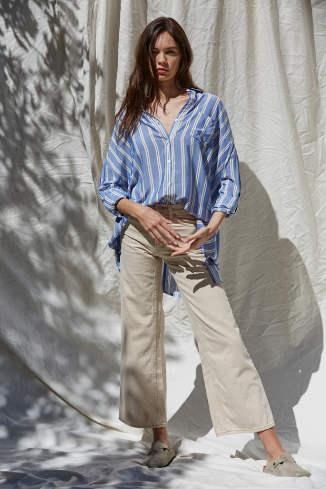 By Together Button Up Striped Top - Main Image