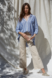 By Together Button Up Striped Top - Front cropped