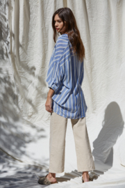 By Together Button Up Striped Top - Front full body