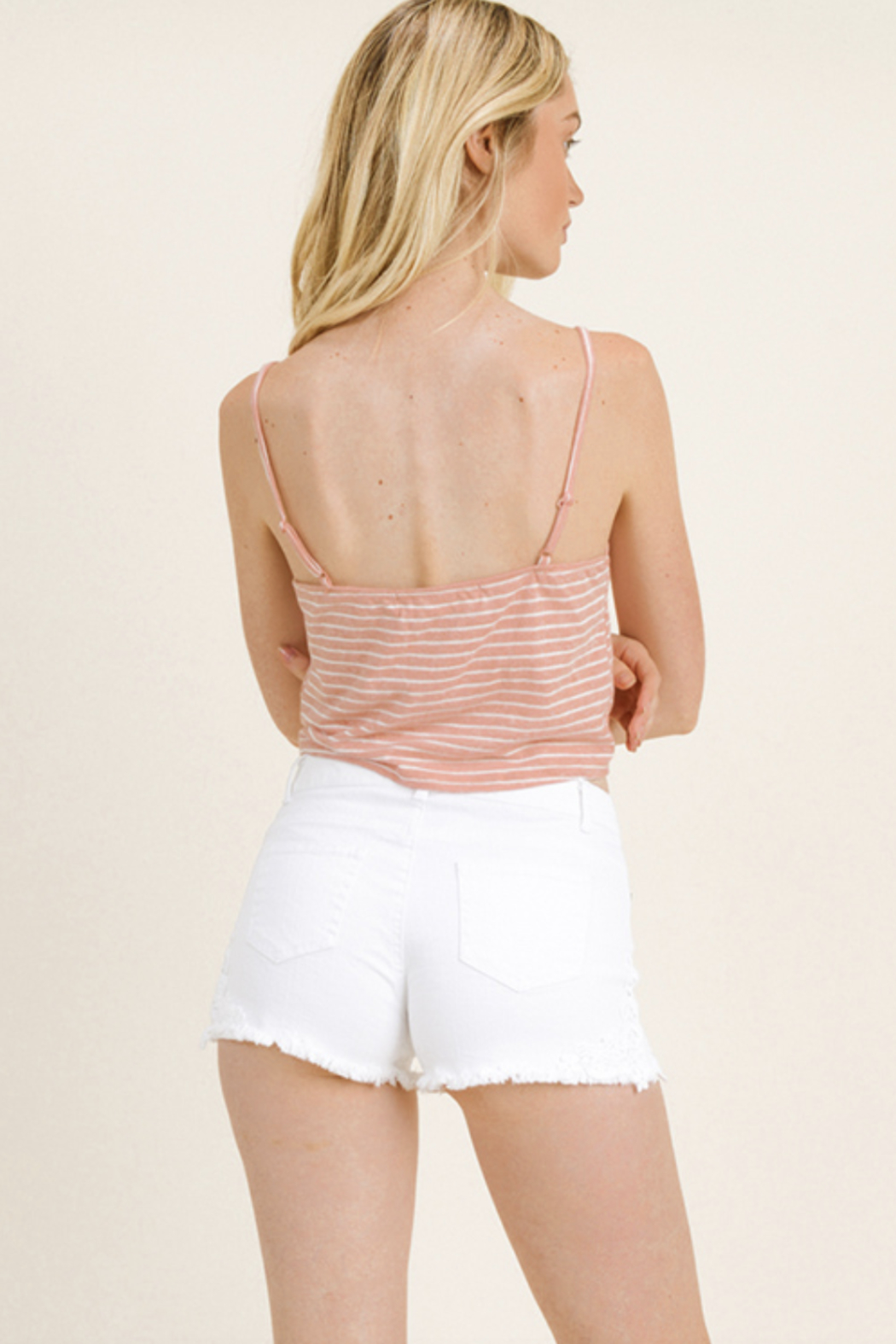 MONTREZ BUTTON UP TIE DETAIL CROP TOP - Side Cropped Image