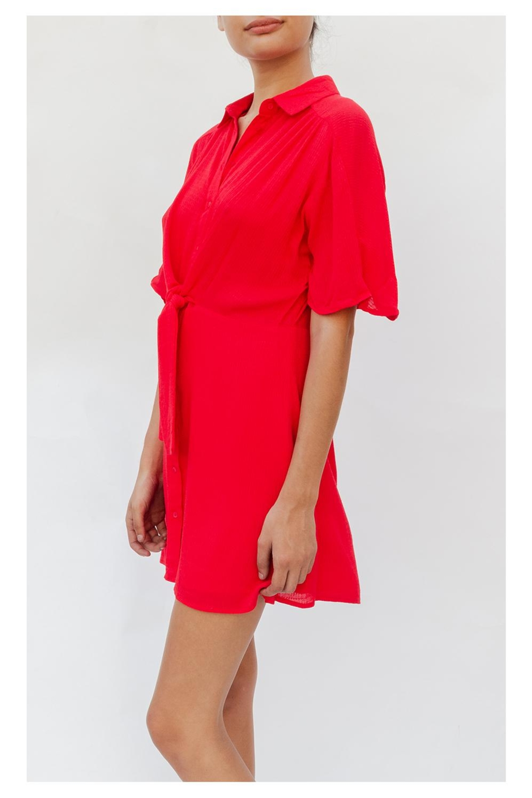 50fd67989 En Creme Button-Up Tie-Front Red-Dress from Los Angeles by Goldie's ...