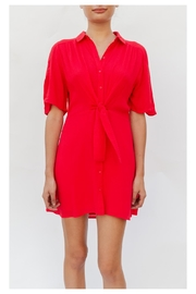 En Creme Button-Up Tie-Front Red-Dress - Product Mini Image