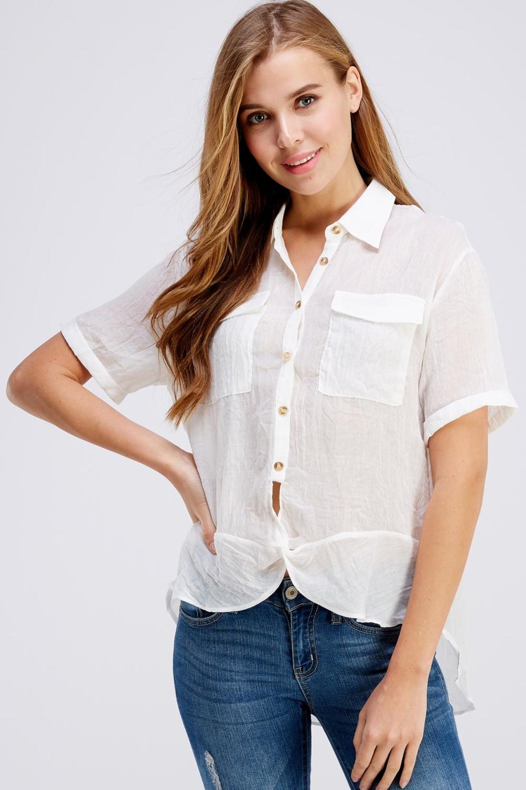 Favlux Button Up Top - Front Cropped Image