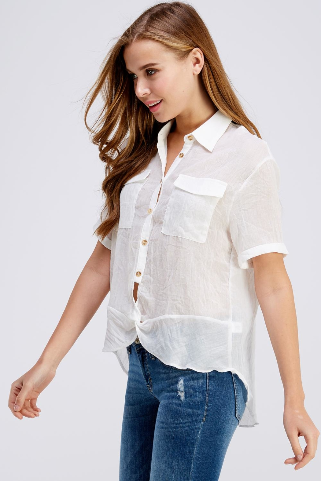 Favlux Button Up Top - Side Cropped Image