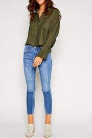 Sadie & Sage Button-Up Top, Olive - Product Mini Image
