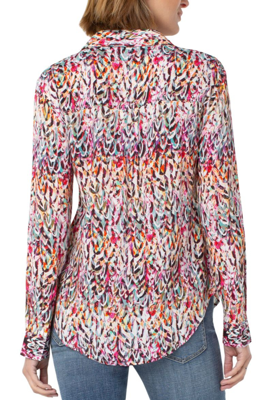 Liverpool Button Up Woven Blouse - Front Full Image