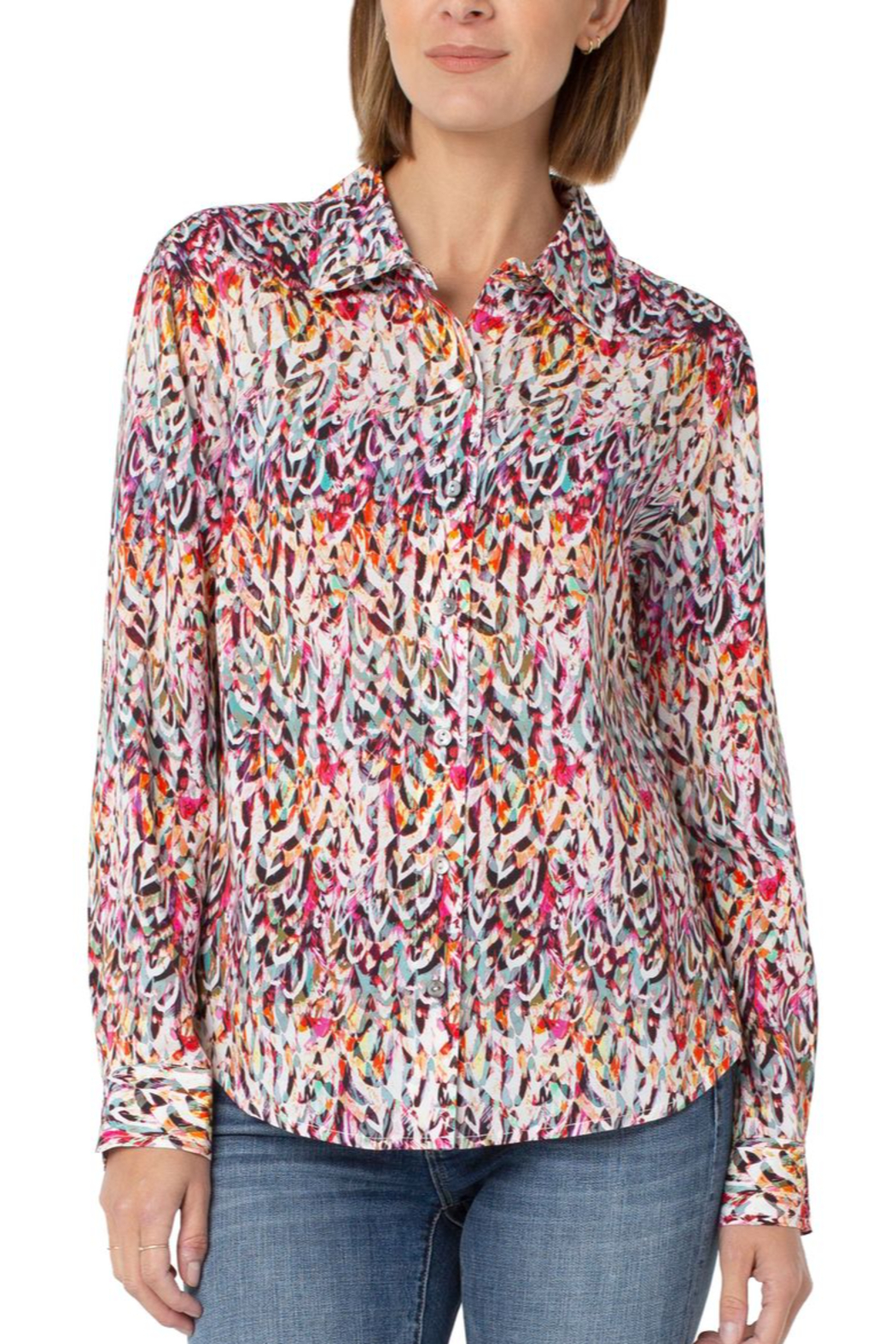 Liverpool Button Up Woven Blouse - Main Image