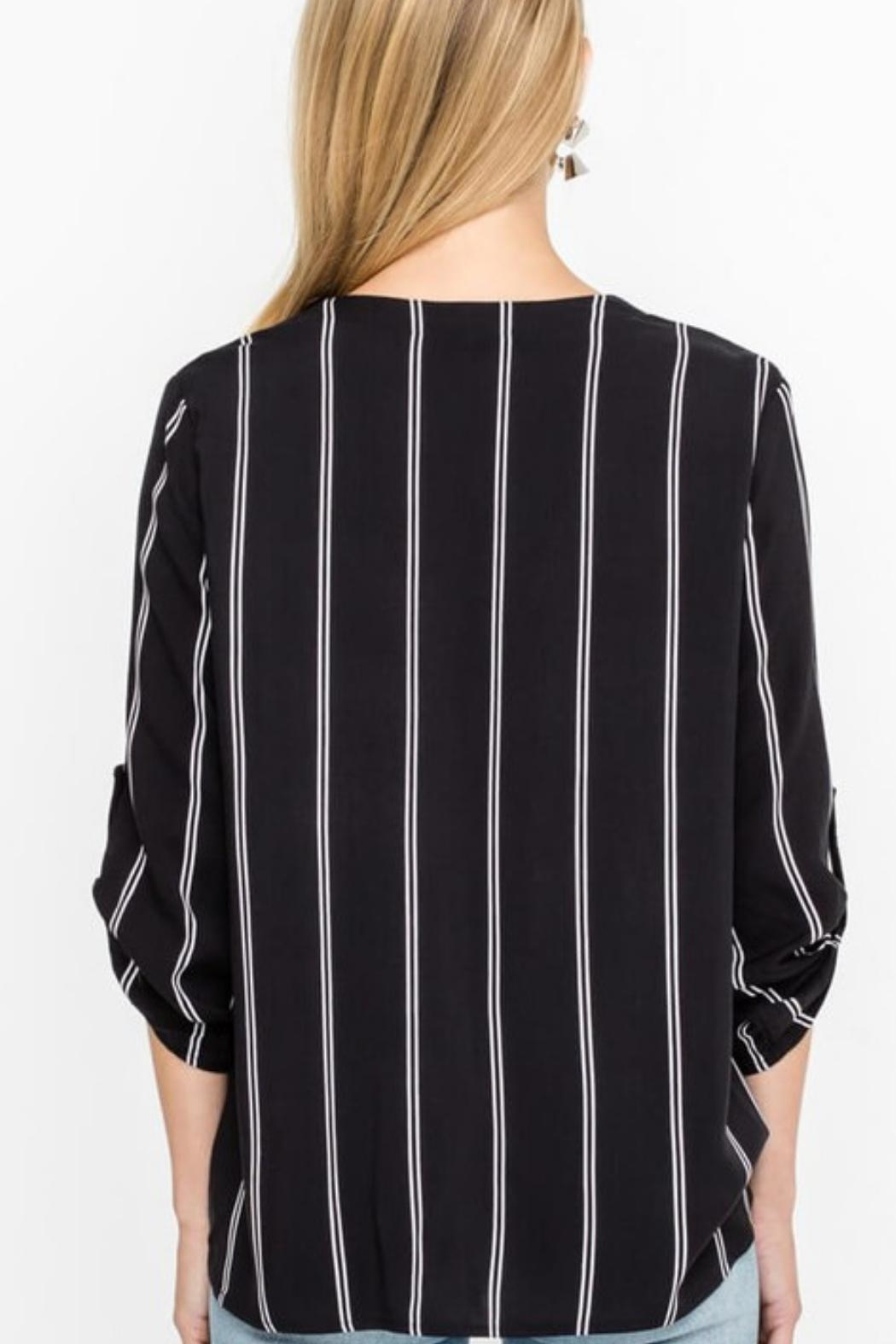 Lush Buttoned Draped Blouse - Front Full Image