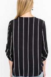 Lush Buttoned Draped Blouse - Front full body