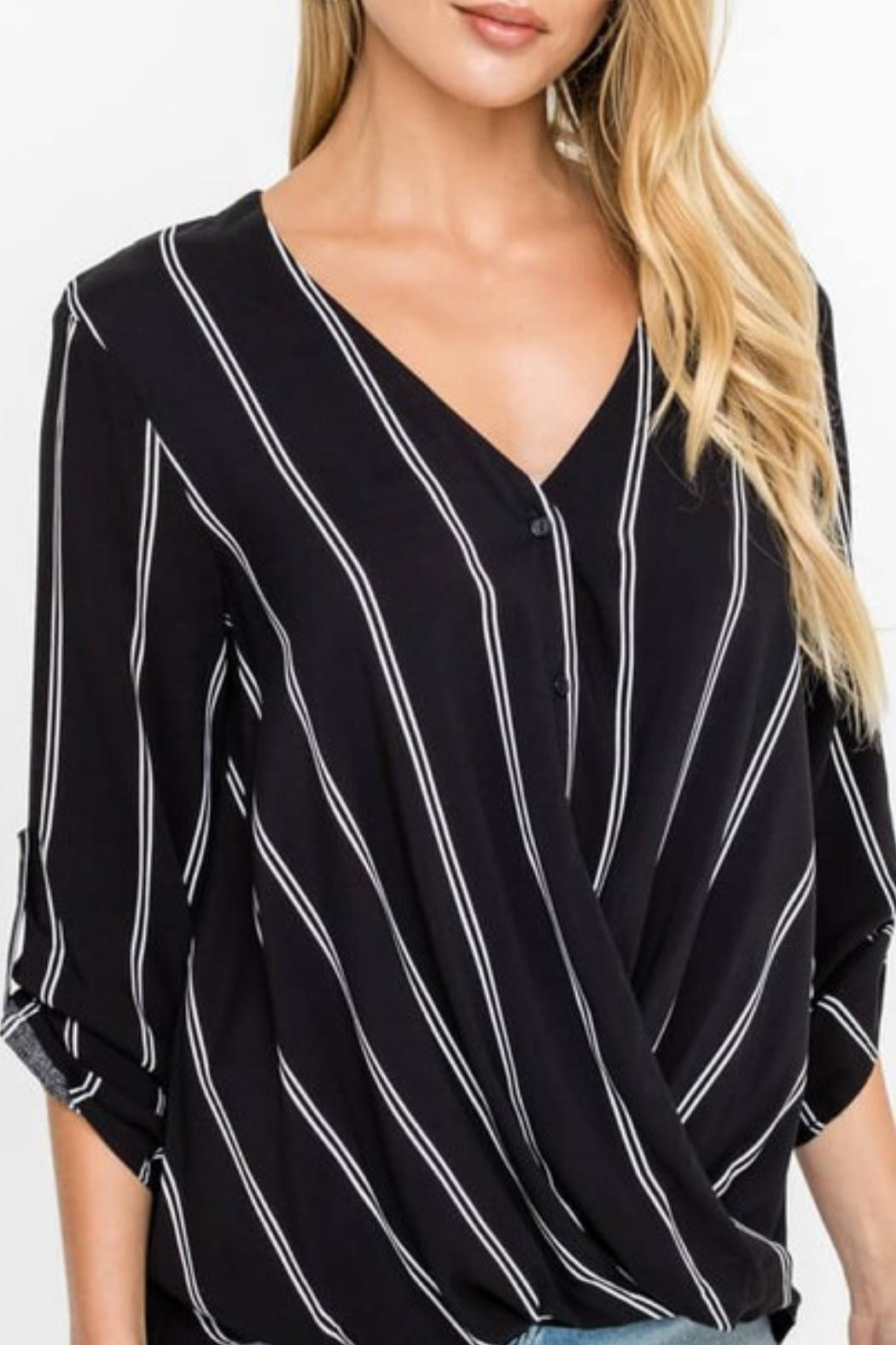 Lush Buttoned Draped Blouse - Front Cropped Image