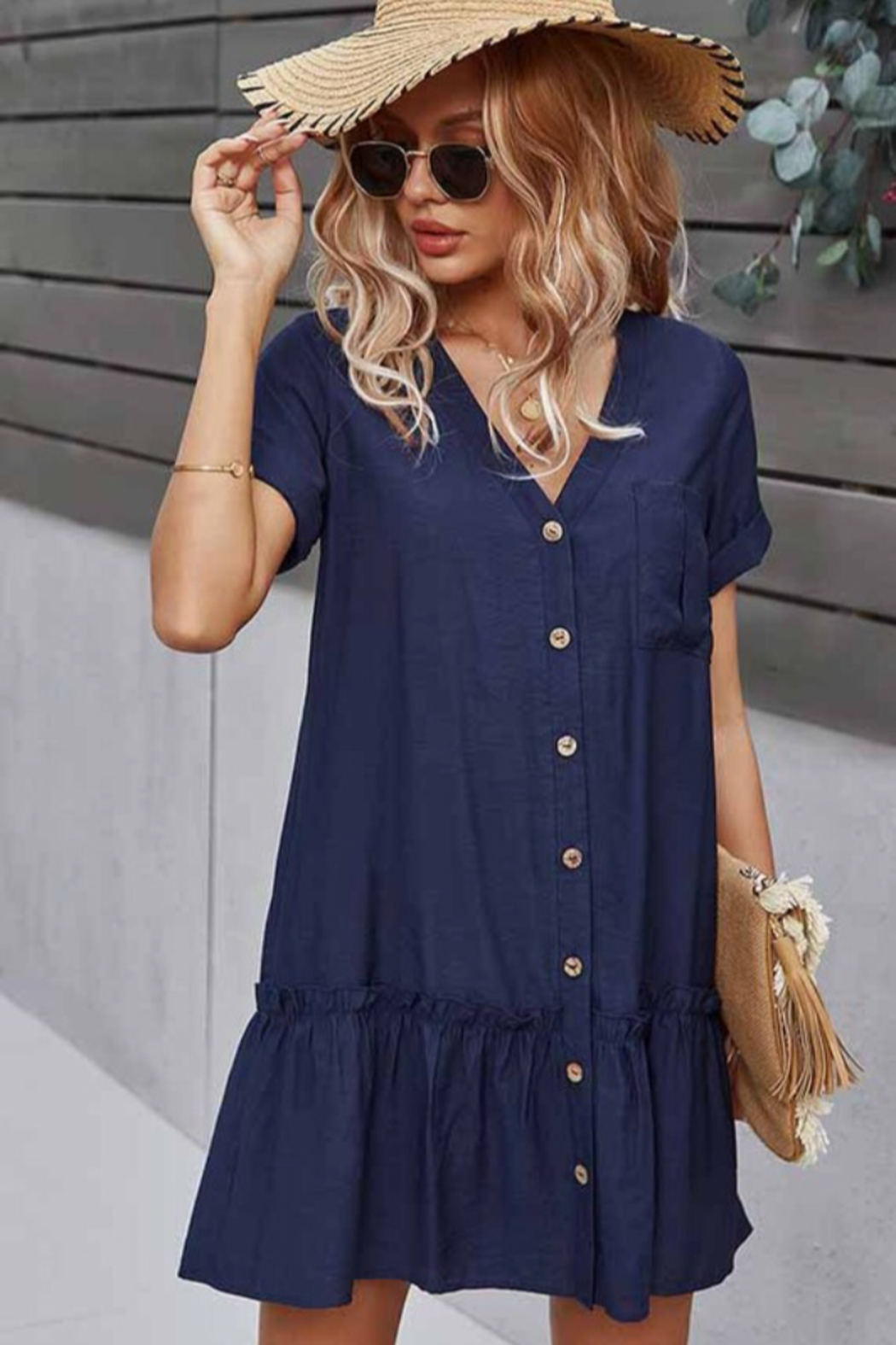 Esley Collection Buttoned Front Dress - Main Image