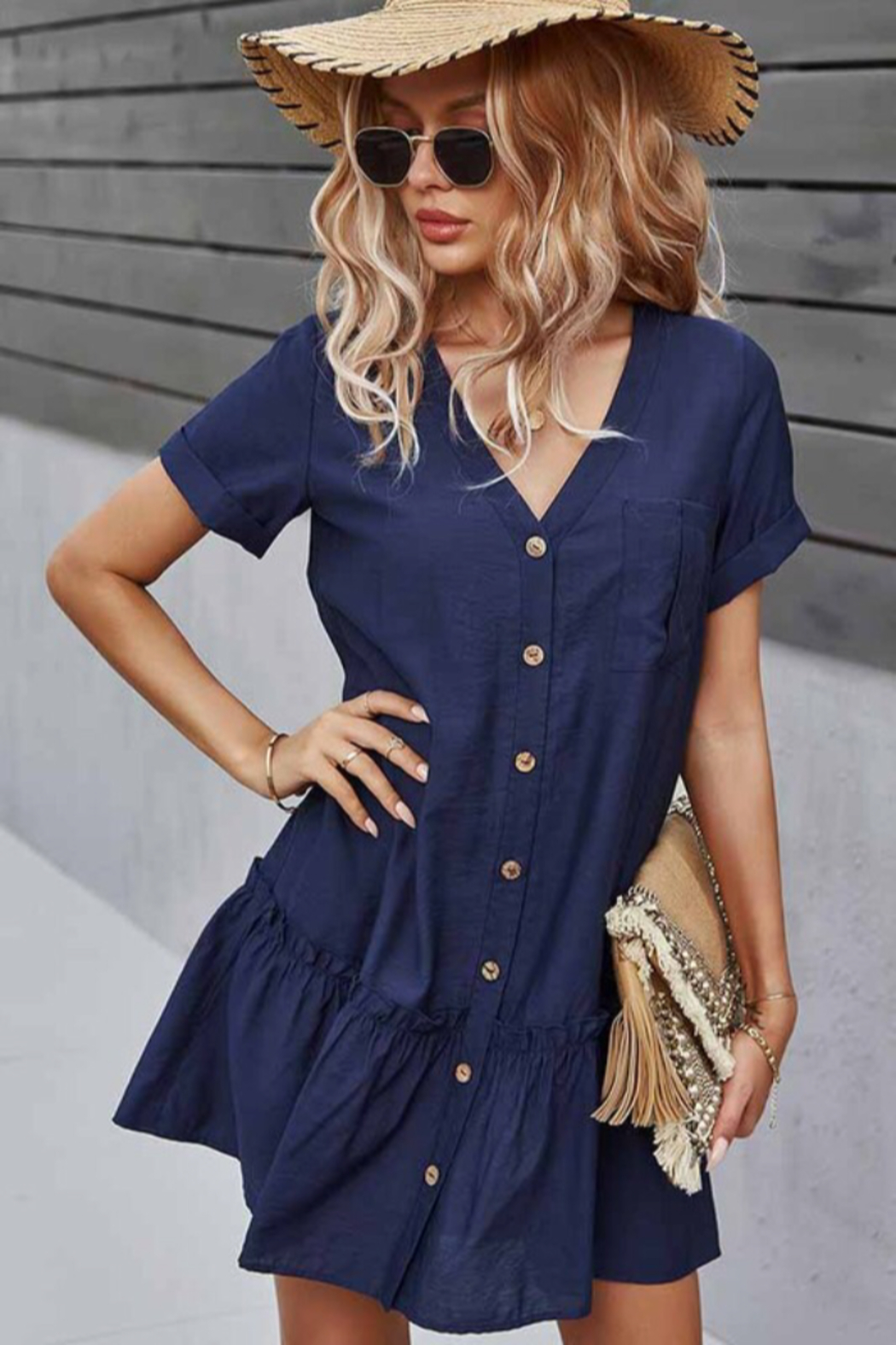 Esley Collection Buttoned Front Dress - Front Full Image