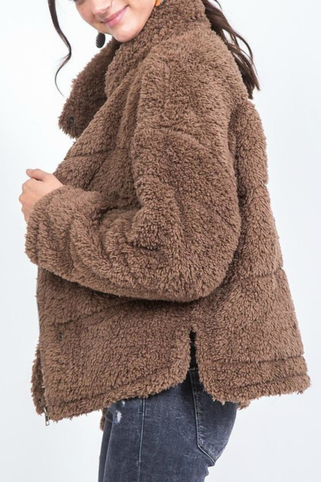 Pretty Little Things Buttoned Teddy Coat - Front Full Image