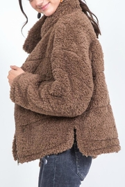 Pretty Little Things Buttoned Teddy Coat - Front full body