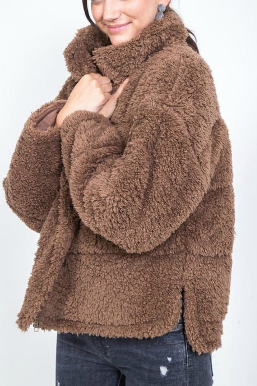 Pretty Little Things Buttoned Teddy Coat - Main Image