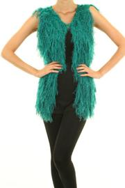 Buzz Teal Furry Vest - Front cropped