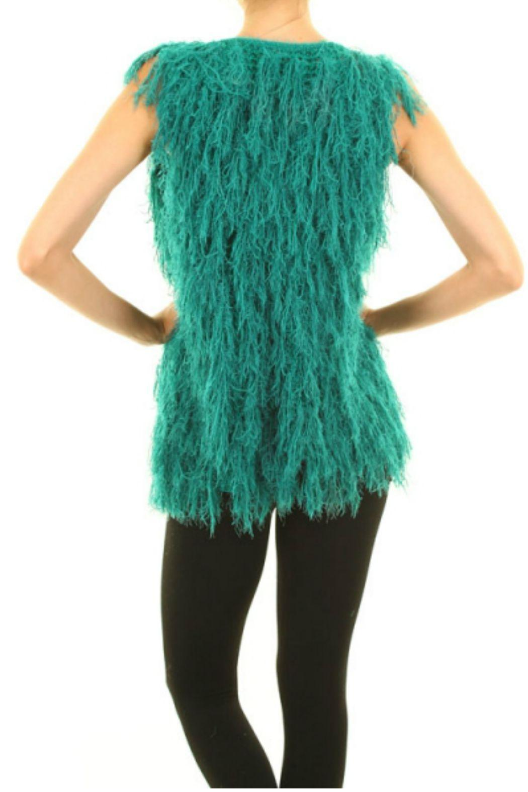 Buzz Teal Furry Vest - Front Full Image
