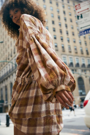 Free People  By The Way Plaid Mini Dress - Front cropped