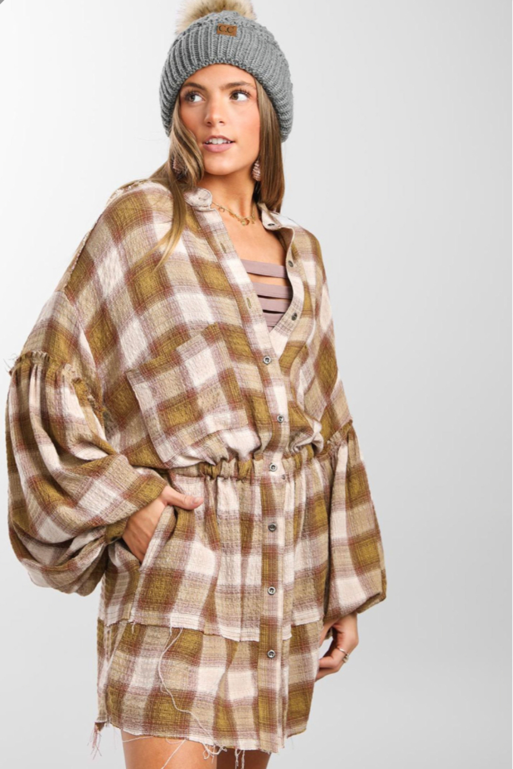 Free People By The Way Plaid Mini - Front Full Image