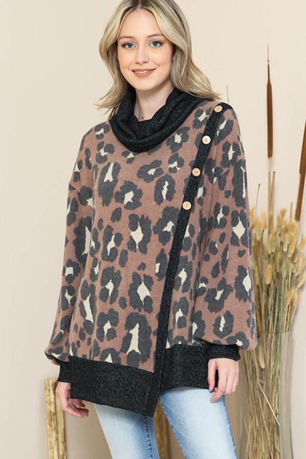 By Together Animal Print Mock Neck Button Sweater - Main Image