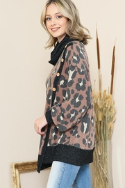 By Together Animal Print Mock Neck Button Sweater - Front full body
