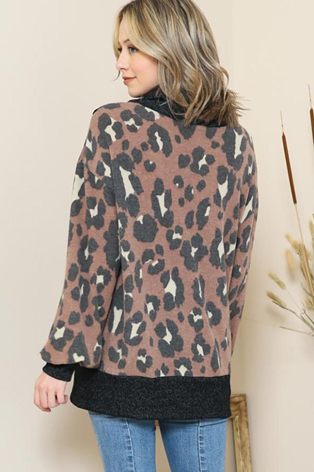 By Together Animal Print Mock Neck Button Sweater - Side Cropped Image