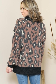 By Together Animal Print Mock Neck Button Sweater - Side cropped