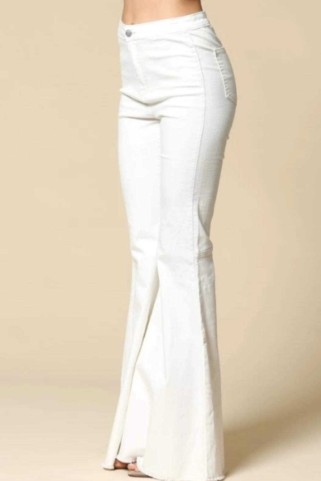 By Together Bell-Bottom Jeans, White - Side Cropped Image