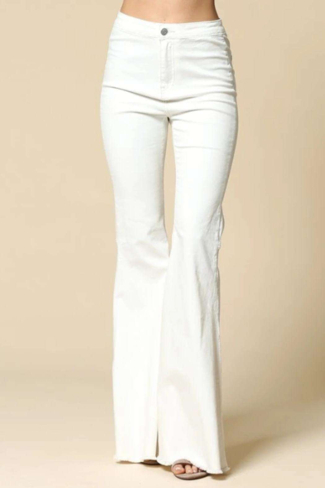 By Together Bell-Bottom Jeans, White - Front Full Image