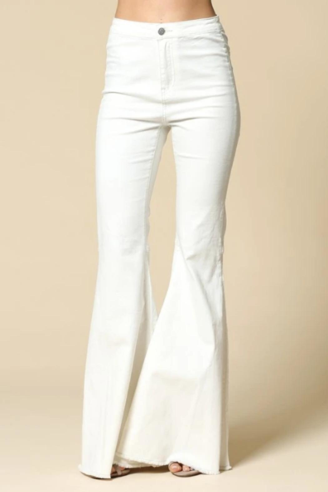 By Together Bell-Bottom Jeans, White - Main Image