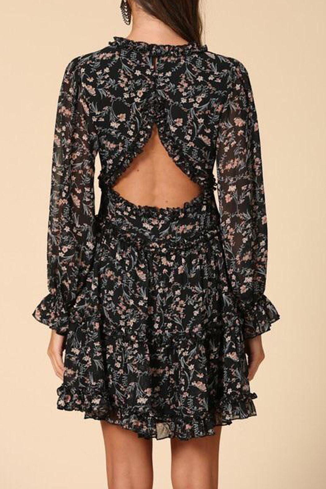 By Together Floral Chiffon Dress - Back Cropped Image