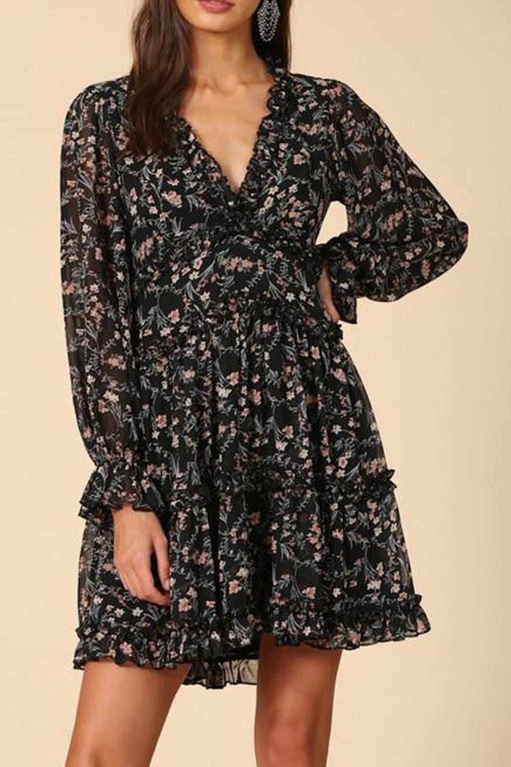 By Together Floral Chiffon Dress - Front Full Image