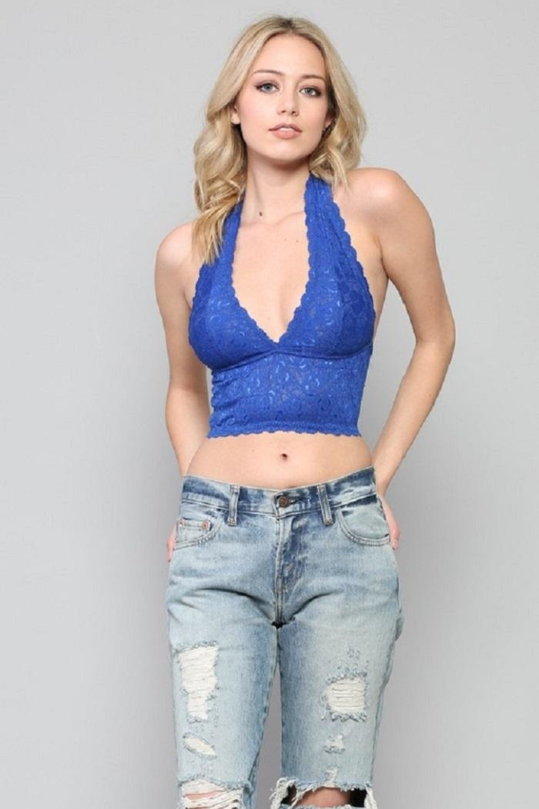 By Together Lace Halter Bralette - Front Cropped Image
