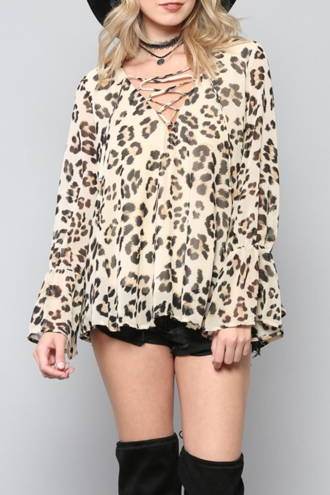 By Together Lace-Up Leopard Top - Main Image