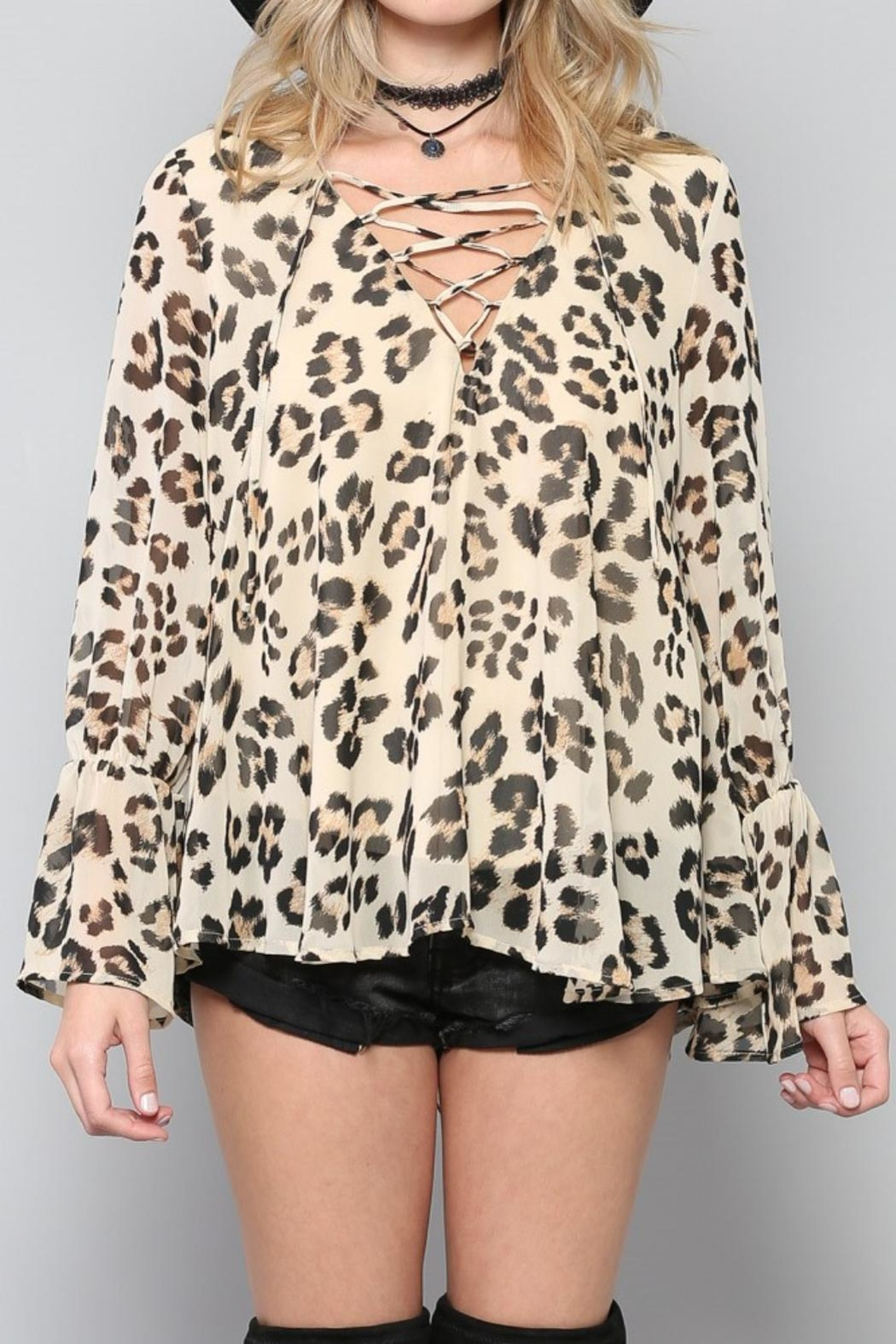 By Together Lace-Up Leopard Top - Side Cropped Image