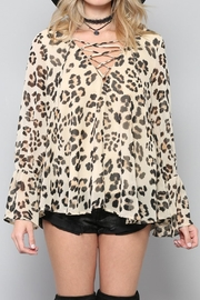 By Together Lace-Up Leopard Top - Side cropped