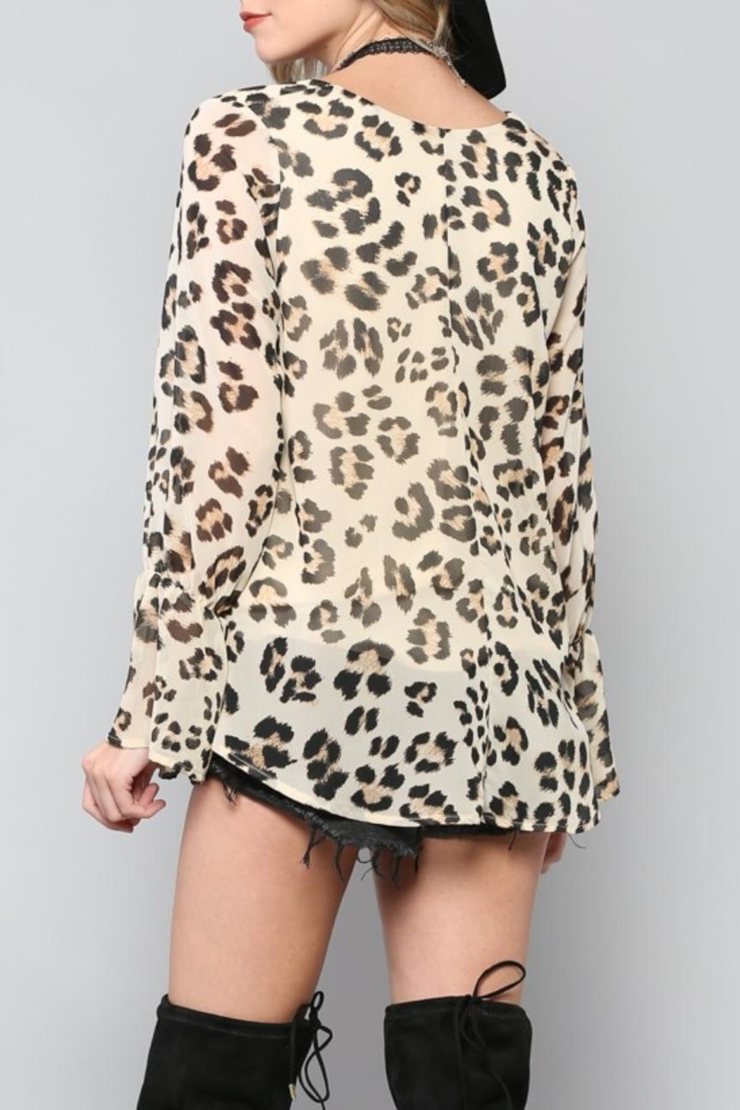 By Together Lace-Up Leopard Top - Front Full Image