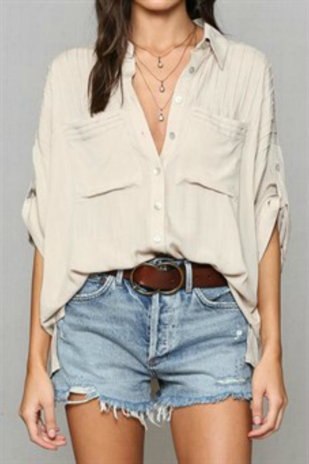 By Together Pleated Buttondown Top - Main Image