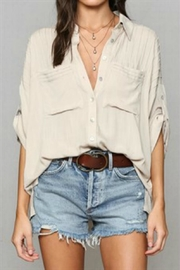 By Together Pleated Buttondown Top - Product Mini Image