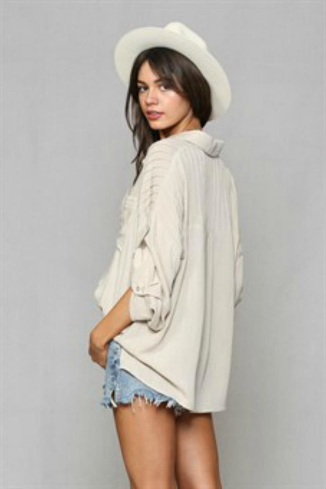 By Together Pleated Buttondown Top - Front Full Image