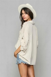 By Together Pleated Buttondown Top - Front full body