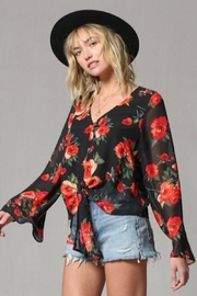 By Together Rose Print Bell Sleeve Top - Front cropped