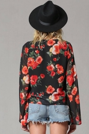 By Together Rose Print Bell Sleeve Top - Front full body