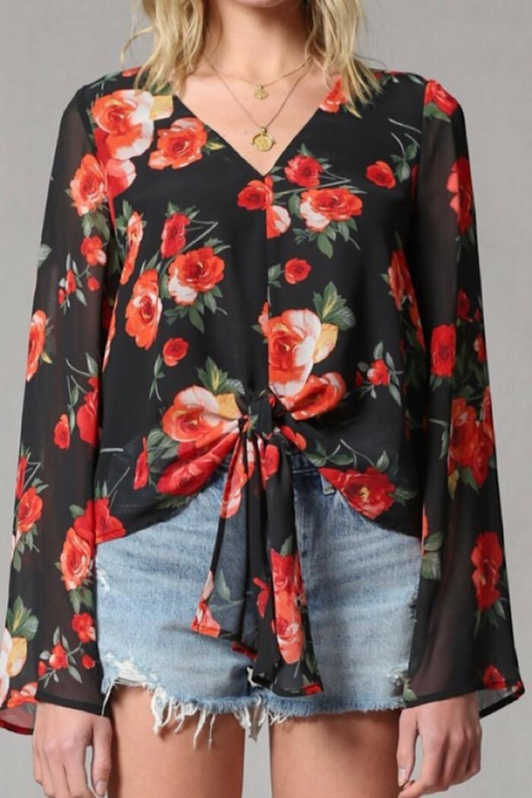 By Together Rose Print Bell Sleeve Top - Side Cropped Image