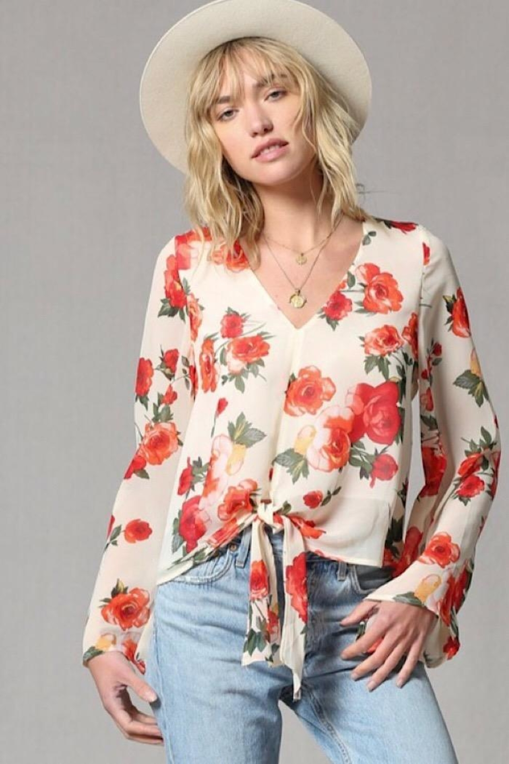 By Together Rose Print Bell Sleeve Top - Main Image