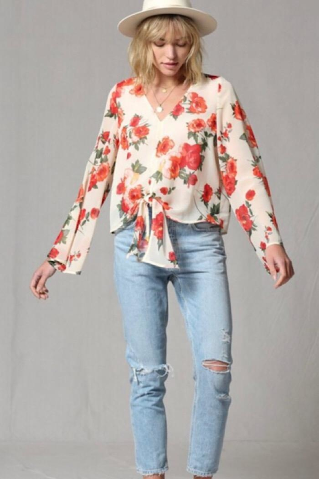 By Together Rose Print Bell Sleeve Top - Front Full Image